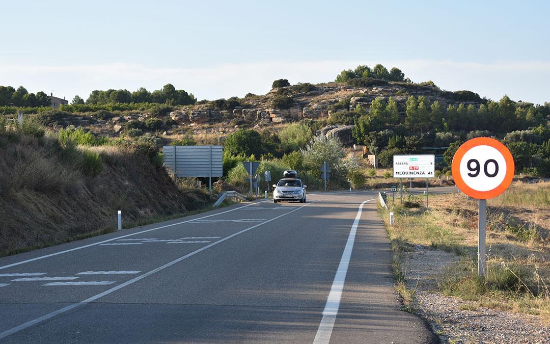 Primeros kilómetros de la A-1411, a la altura de la localidad de Maella.
