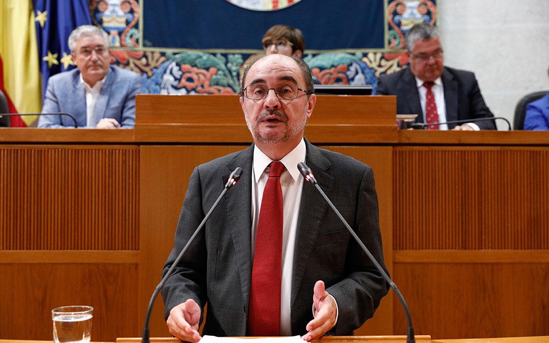 Javier Lambán durante su intervención en la primera jornada del debate de estado de la Comunidad hace unas semanas.