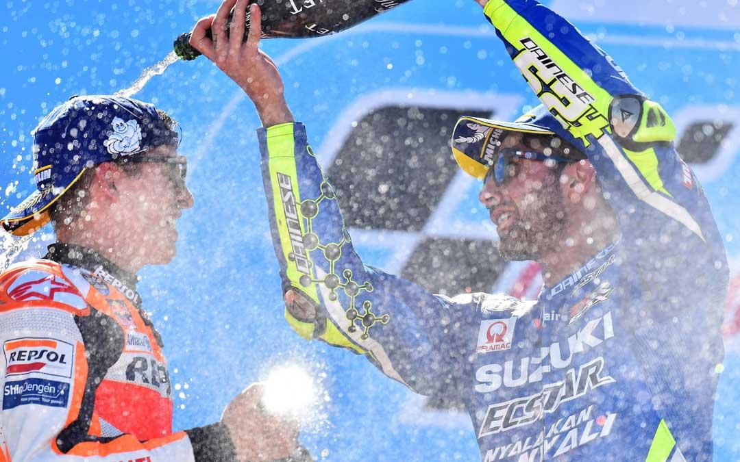 Márquez bañado de champán. MOTOGP