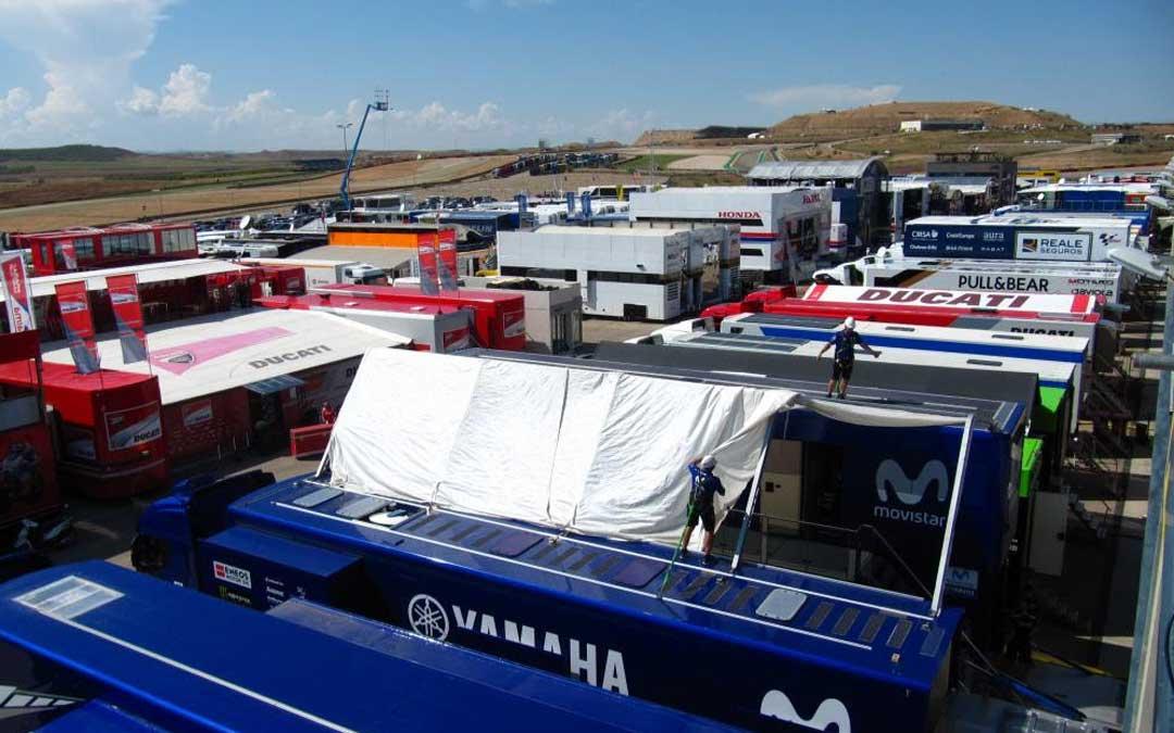 Aspecto del paddock de MotorLand, esta mañana. // MotorLand Aragón