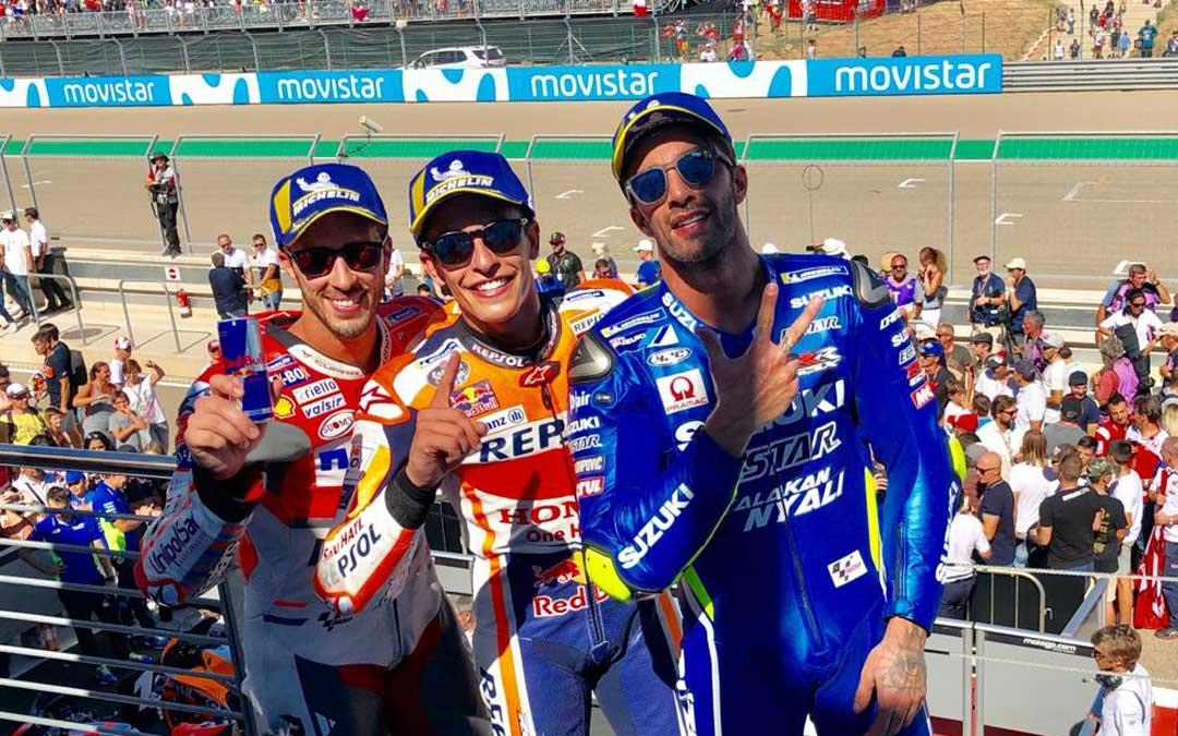 Iannone, Márquez y Dovicioso en el podio de Motorland Aragón