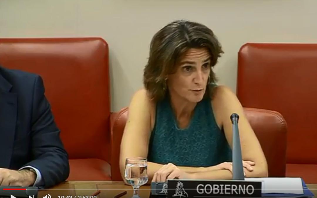 Teresa Ribera ayer durante su intervención en la comisión