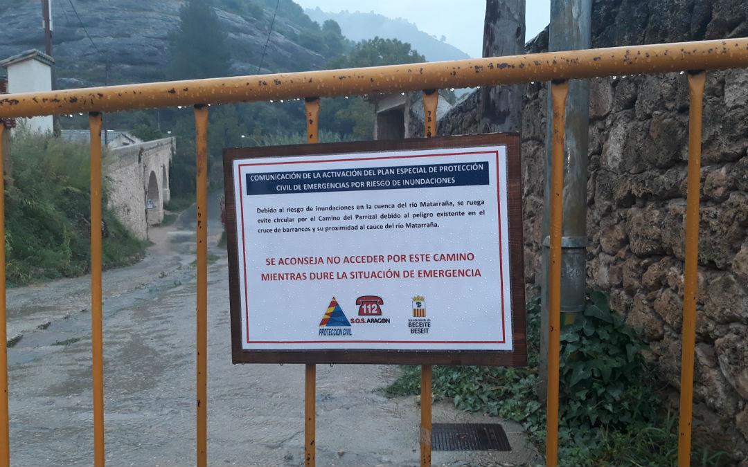 Protección Civil ruega no circular por caminos que discurran frente a ríos y barrancos como La Pesquera y el Parrizal de Beceite