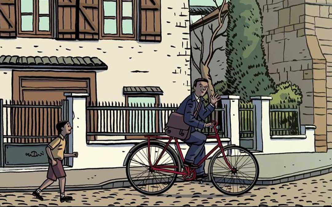 Fotograma de Paco Roca en el que evoca el recuerdo de Emilio Vallés de niño corriendo tras la bicicleta de cartero de su padre