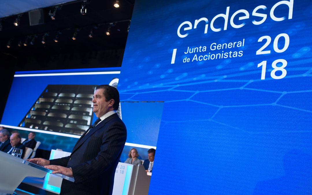 El presidente de Endesa, Borja Prado, durante la junta de accionistas