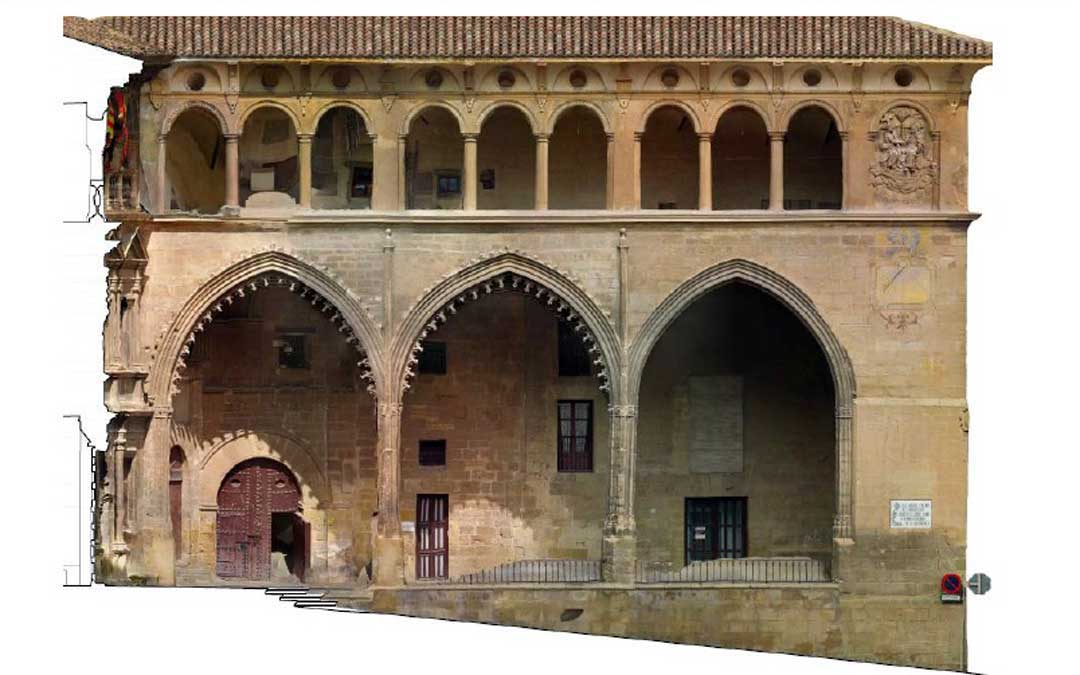 (no decorado) son diferentes a los de los dos primeros: no solo en la fachada exterior sino también en la interior. Imagen: Área de expresión gráfica arquitectónica de la Universidad de Zaragoza