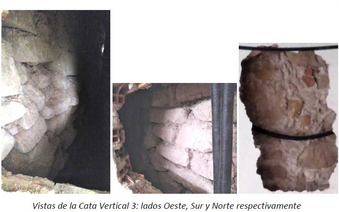En otra de las catas de la planta baja se detectó un muro de piedras que, por sus características, podrían «encajar» con un tramo de la antigua muralla. Foto: informe de Fco. Javier Gutiérrez