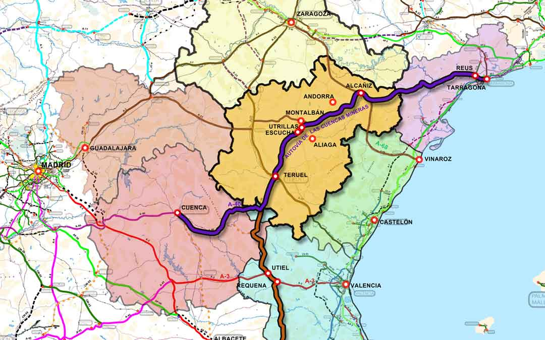 """Trazado que propone Teruel Existe para la """"autovía de las Cuencas Mineras"""""""
