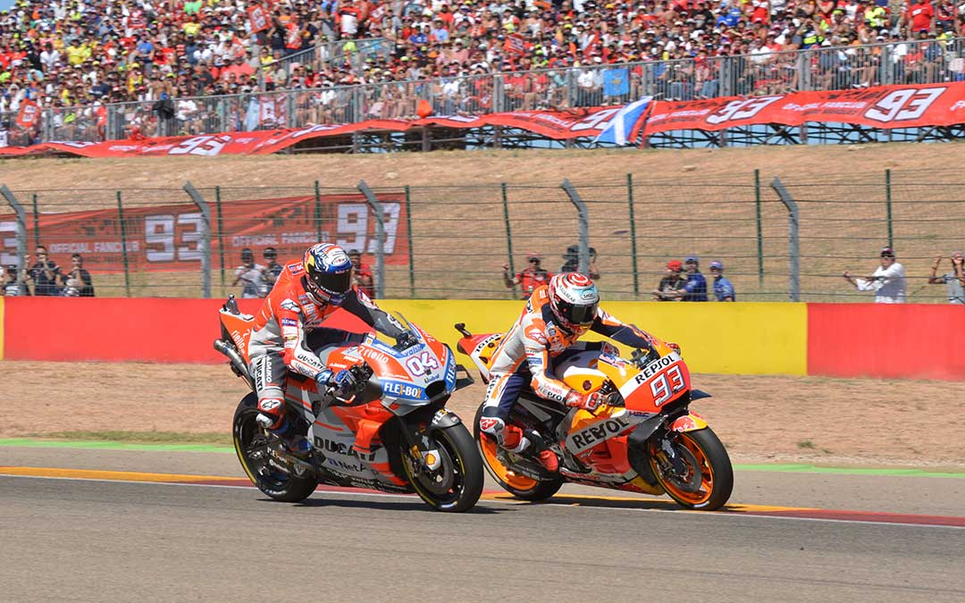 dovizioso y marquez moto gp 2018