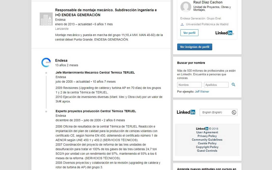 Perfil abierto del principal sospechoso en la red social LinkedIn en el que se especifica su paso por Andorra