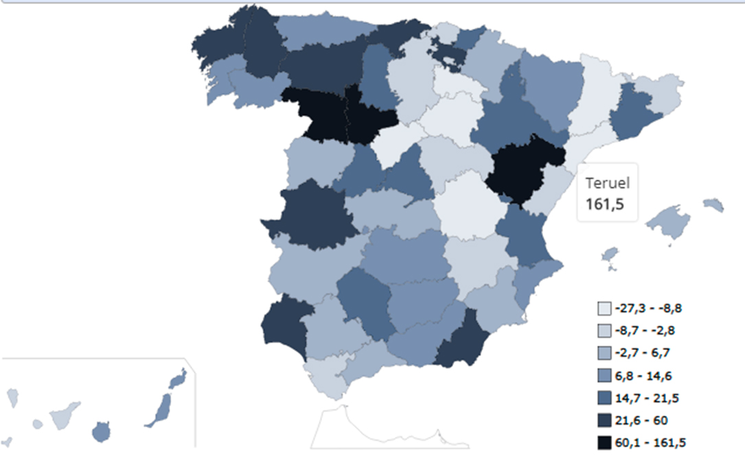 Mapa espana Teruel aumento trafico drogas