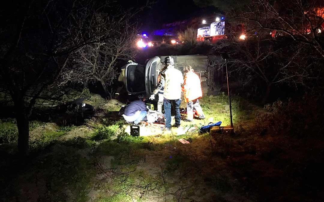 El accidente ocurrió ayer por la noche en el camino Chane, de Caspe.