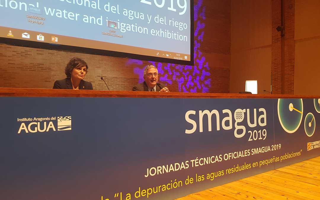 Inés Torralba y Joaquín Olona, en el acto de Smagua donde se habló de las depuradoras.