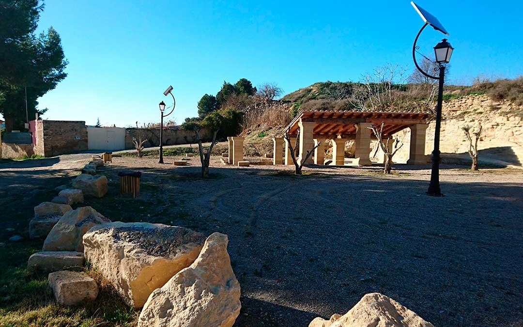 Imagen actual de la Fuente de los Chorros de Caspe.