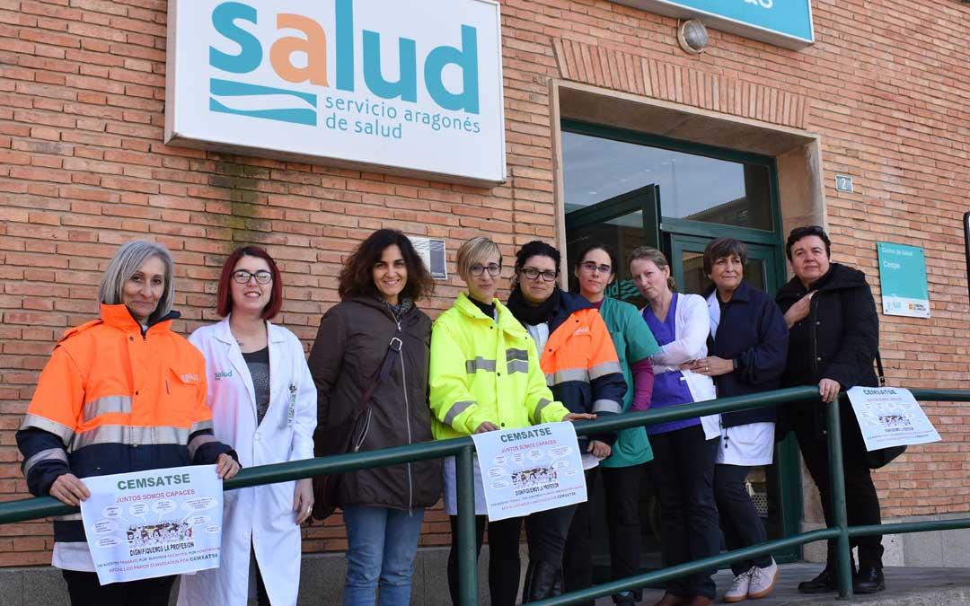 Profesionales en el paro del Centro de Salud de Caspe