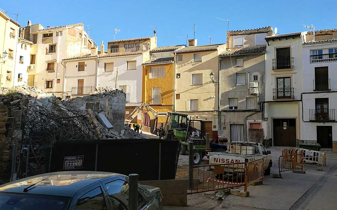 la plaza del Voluntario durante los trabajos de demolicion
