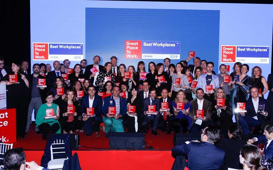 Entrega de los galardones del BestWorkplaces 2019 en la que se premió al Grupo Hierros Alfonso
