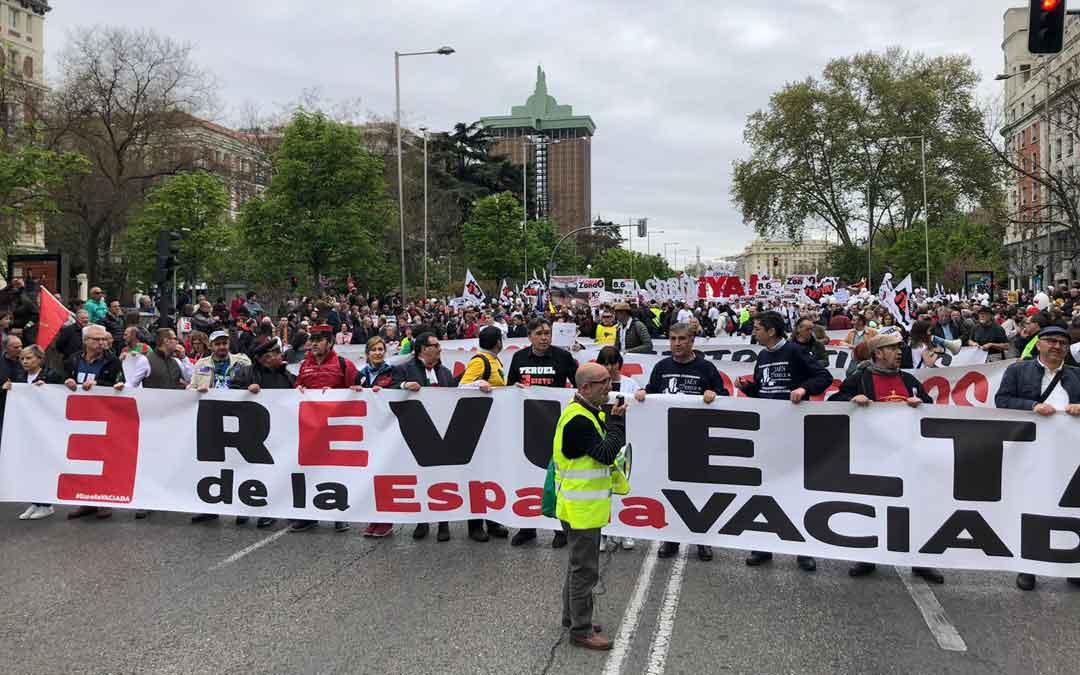 Cabecera en Madrid de la Revuelta de la España Vaciada el 31M organizada por Teruel Existe y Soria Ya.