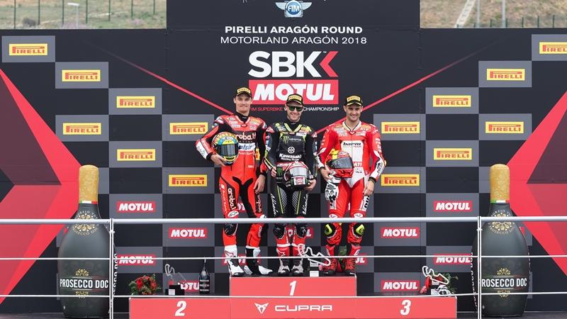 Podium SBK 2018 en Motorland Aragón