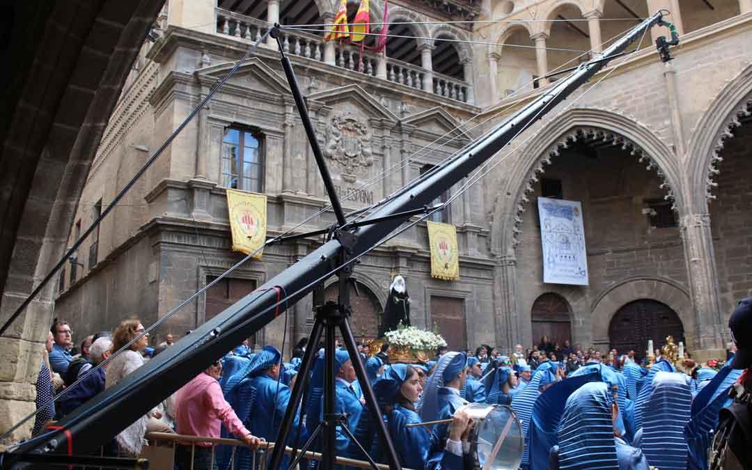 Un momento del rodaje del documental 'Inmortal' en Alcañiz.