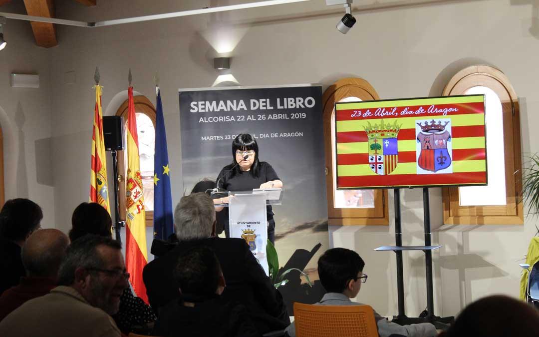 La concejal de Cultura, Mariví Alloza, en la presentación del acto institucional por San Jorge