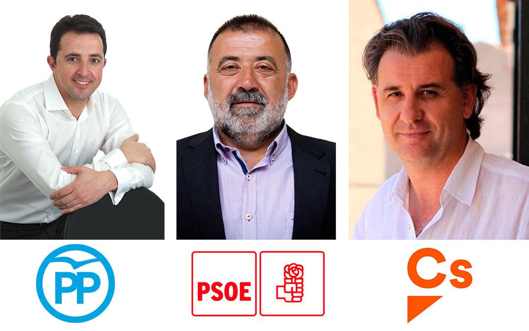 Alberto Herrero (PP), Herminio Sancho (PSOE) y Joaquín Moreno (Cs), los tres candidatos que entrarían en el Congreso según el último barómetro electoral del CIS