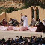Cristo junto a sus doce apóstoles durante la representación de la Última Cena