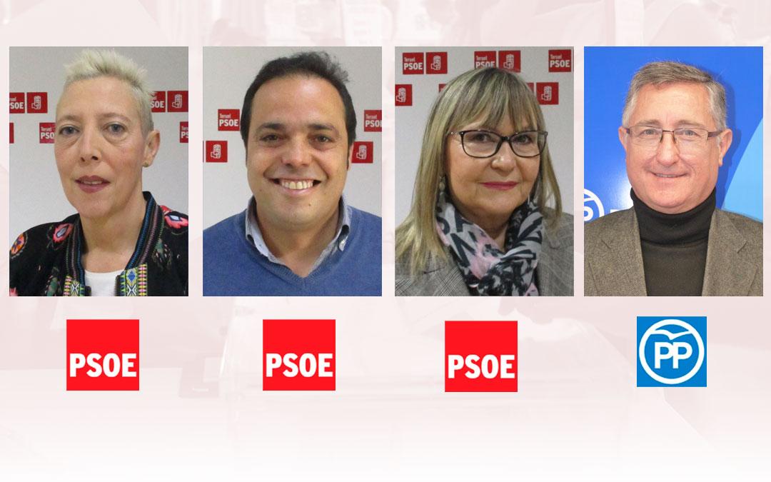 Los senadores por Teruel María José Villalva, Antonio Amador, Perla Borao (PSOE) y Manuel Blasco (PP)