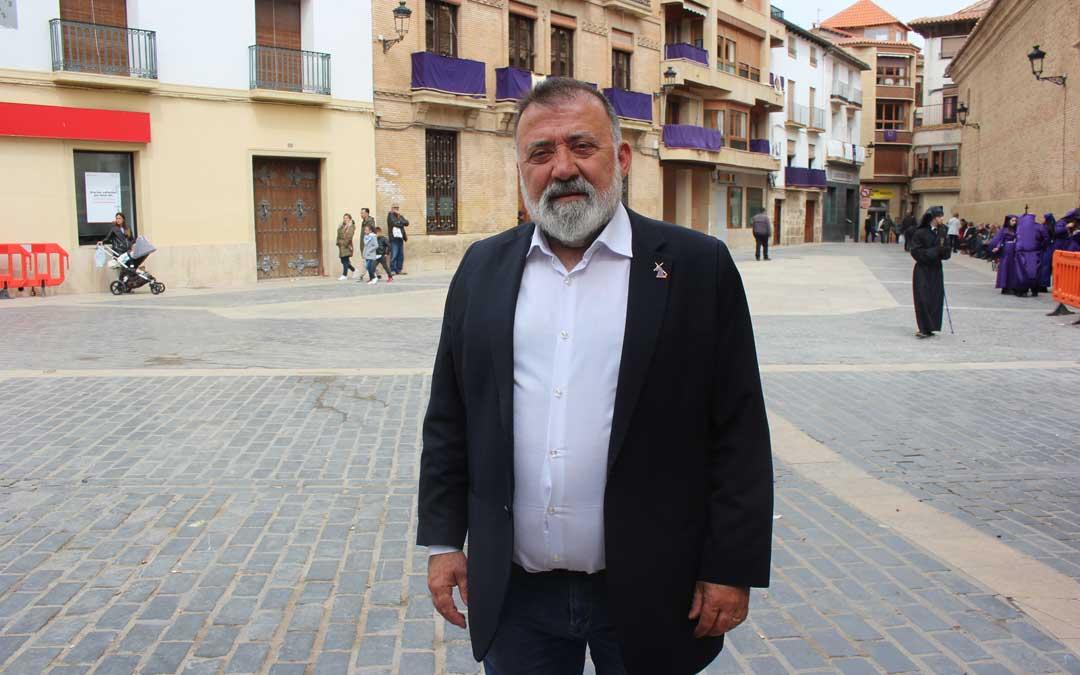 Herminio Sancho en Calanda, localidad que visitó el Viernes Santo para asistir a la Rompida. Foto: L. Castel