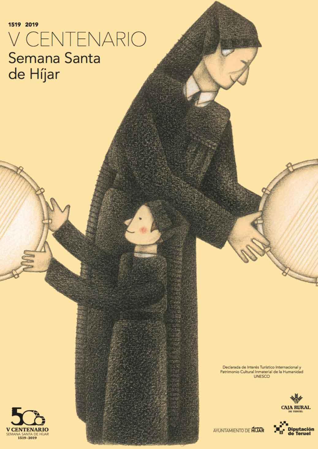 Cartel conmemorativo del quinto centenario de la Semana Santa de Híjar obra del ilustrador Alberto Gamón.