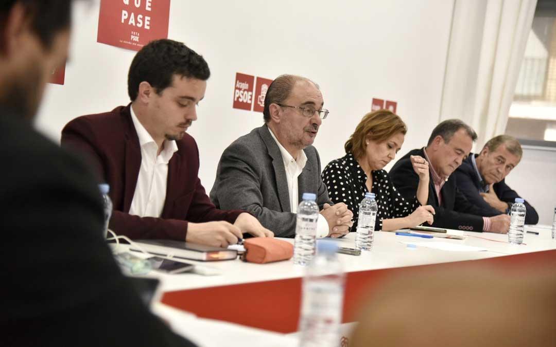 Ejecutiva autonómica dde los socialistas aragoneses este lunes presidida por Lambán. Foto: PSOE