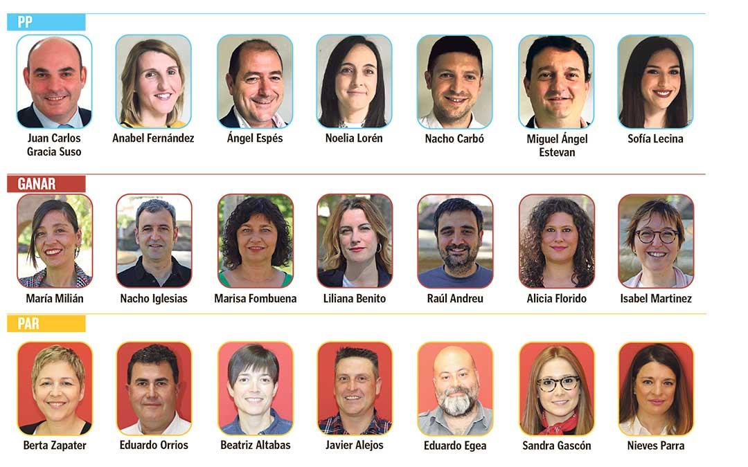 Siete primeros candidatos de las listas de PP, IU y PAR al Ayuntamiento de Alcañiz.