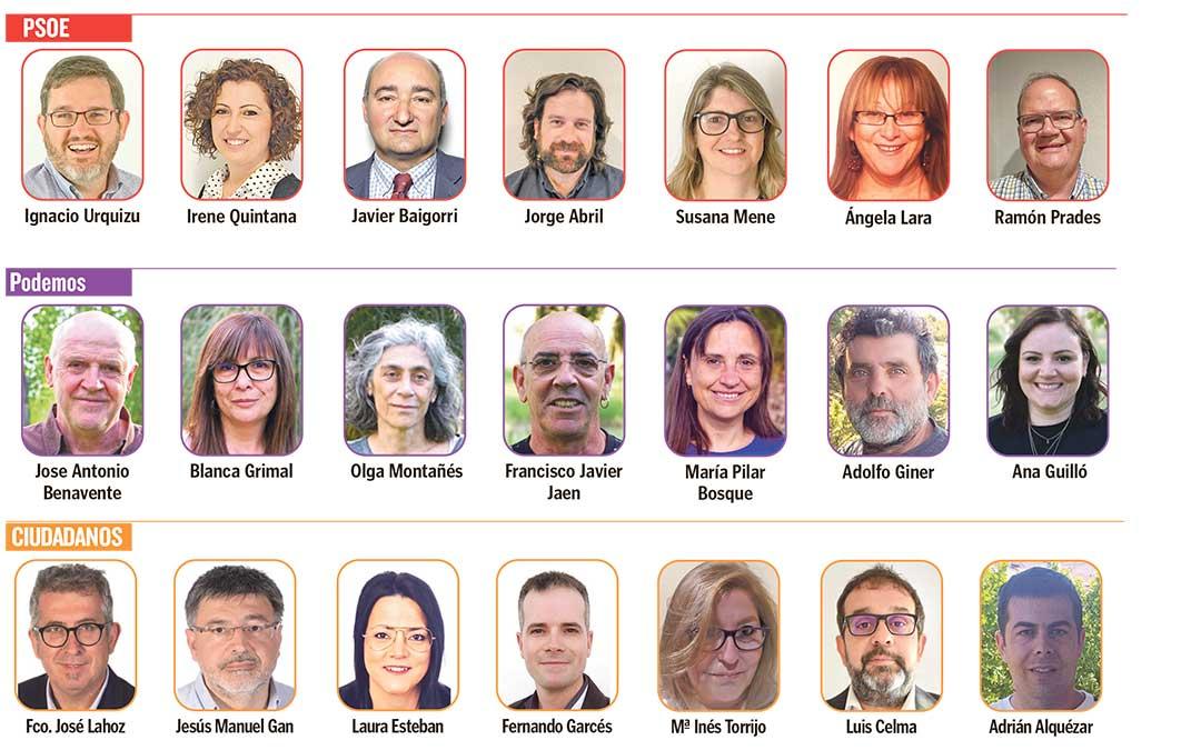 Candidaturas de PSOE, Podemos y Ciudadanos