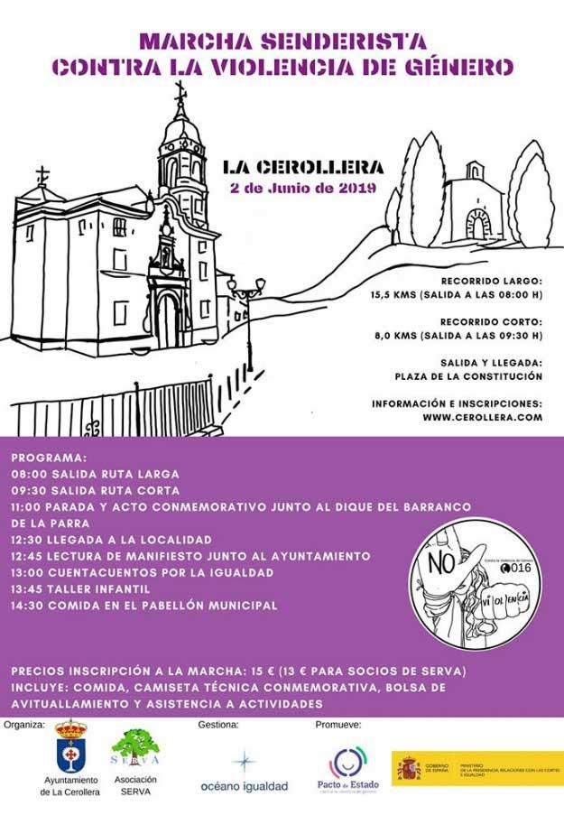 Cartel anunciador de la 'marcha senderista contra la Violencia de Género' en La Cerollera.