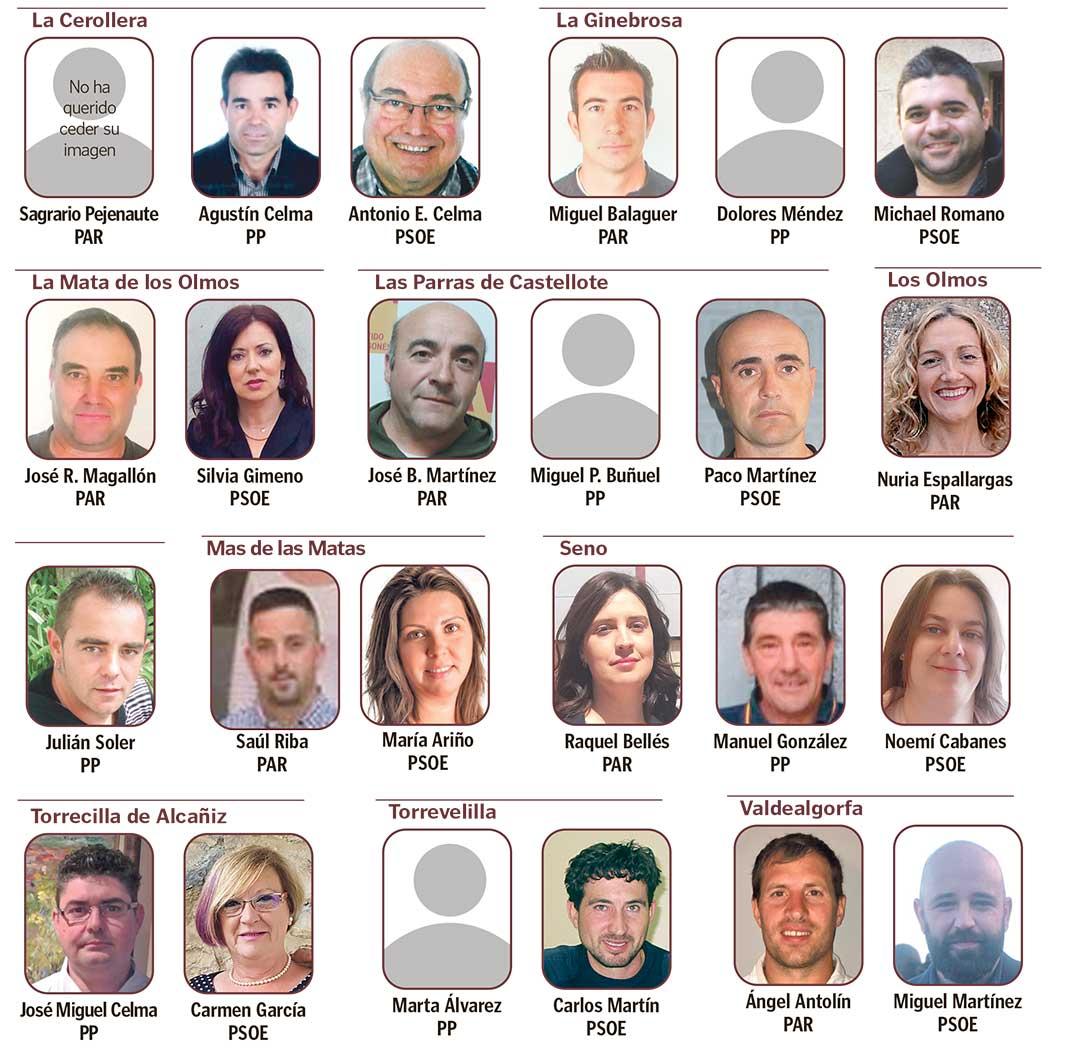 Segunda parte de la lista de los cabezas de lista en el Bajo Aragón.