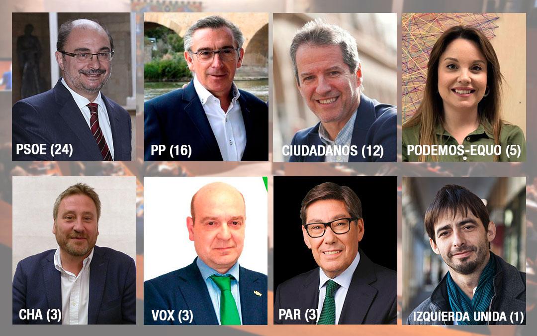 Imagen de los principales candidatos a las Cortes a nivel autonómico
