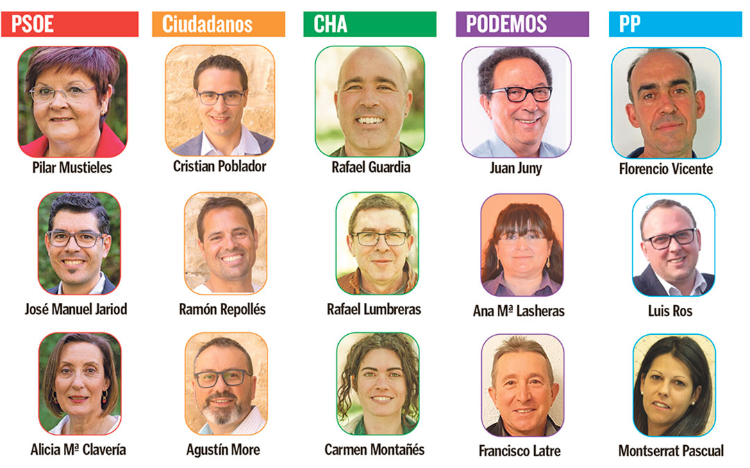 Candidatos de los partidos políticos que se presentan en Caspe