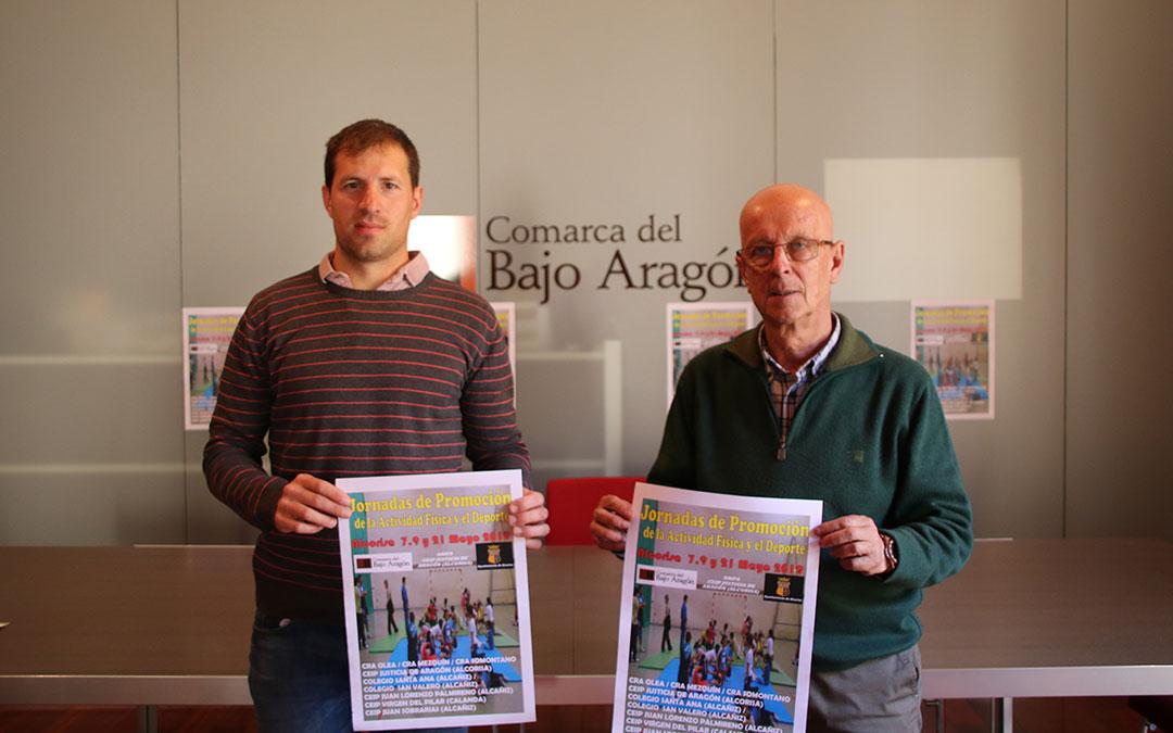 manuel ponz angel antolin presentacion jornadas promocion actividad fisica y deportiva comarca del bajo aragon
