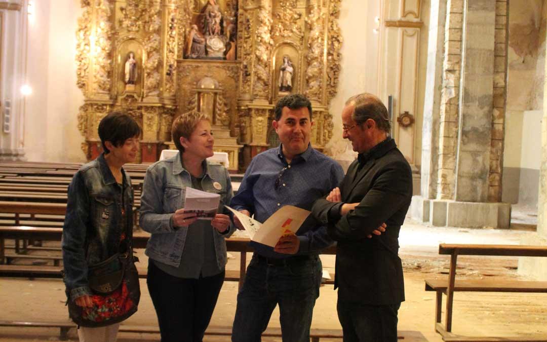 Altaba (3), Zapater (1), Orrios (2) y Dobato (10), este lunes, en la Iglesia del Carmen de Alcañiz. Foto: L. Castel