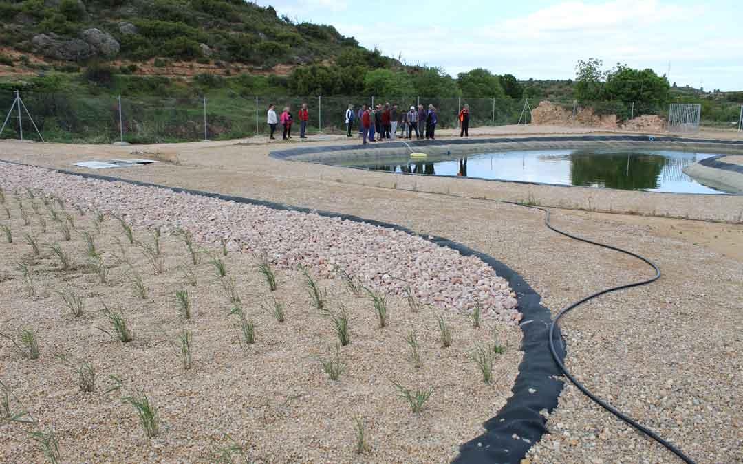 Balsa de las plantas y balsa de agua donde acaban de eliminarse las bacterias por insolación en la depuradora de Torrecilla