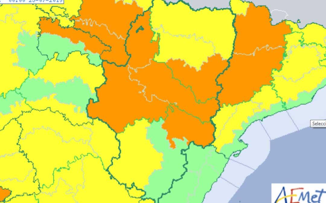 En naranja, las altas temperaturas registradas en el territorio bajoaragonés