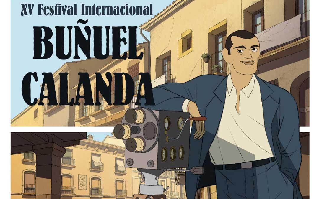Detalle del cartel del Festival de Cine Buñuel Calanda 2019 obra de José Luis Ágreda, homenajeado de este año.