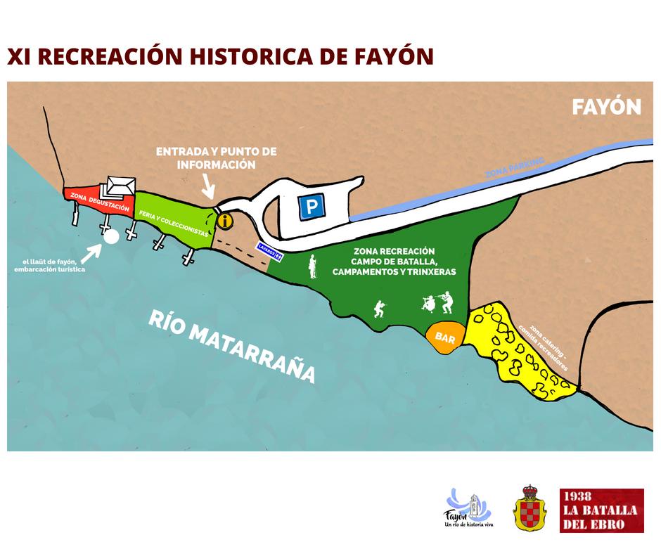 Mapa orientativo para los visitantes que acudan el sábado 27 de julio a ver la recreación en Fayón. ayto fayon