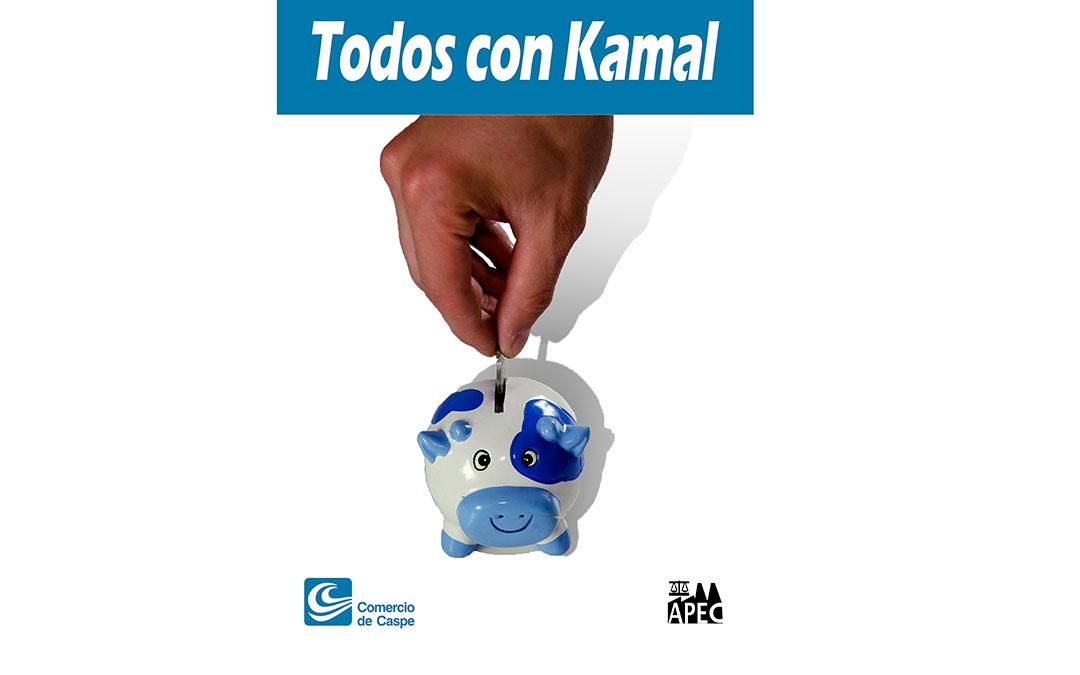 Cartel 'Todos con Kamal' que se pondrá en las huchas.