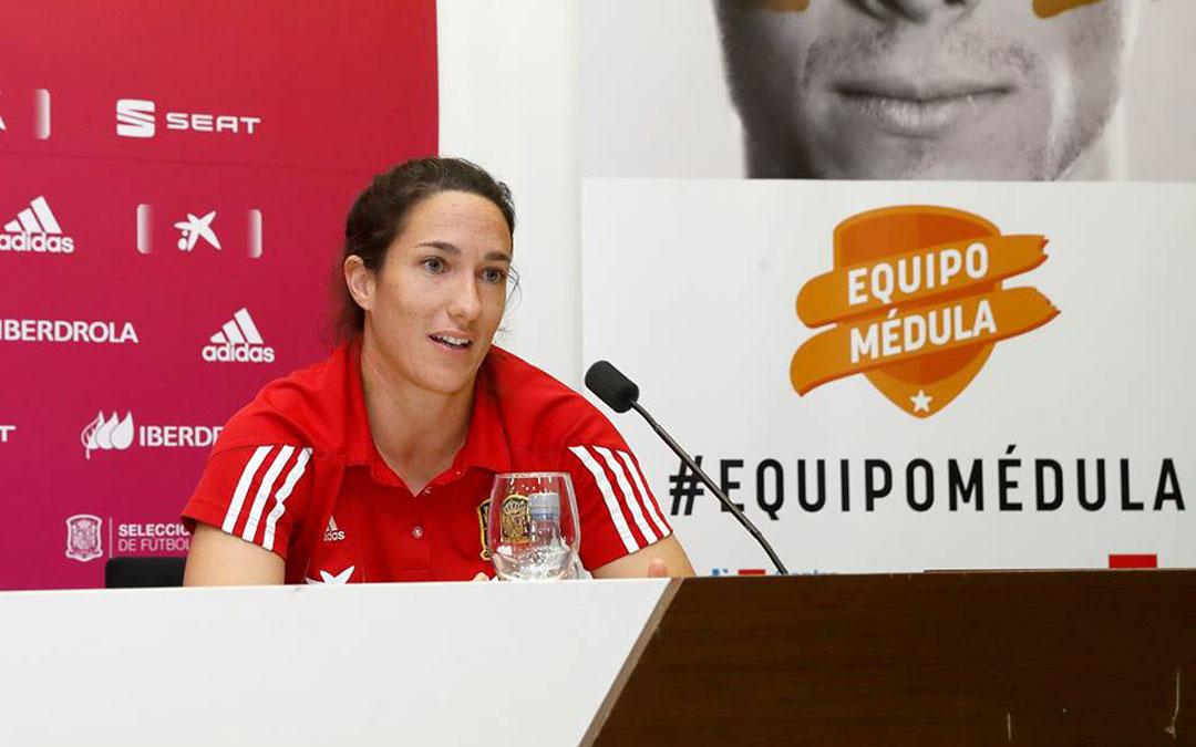 Silvia Meseguer en una rueda de prensa con la Selección en noviembre de 2018. / Facebook Selección Española Femenina de Fútbol (@sefutbolfem)