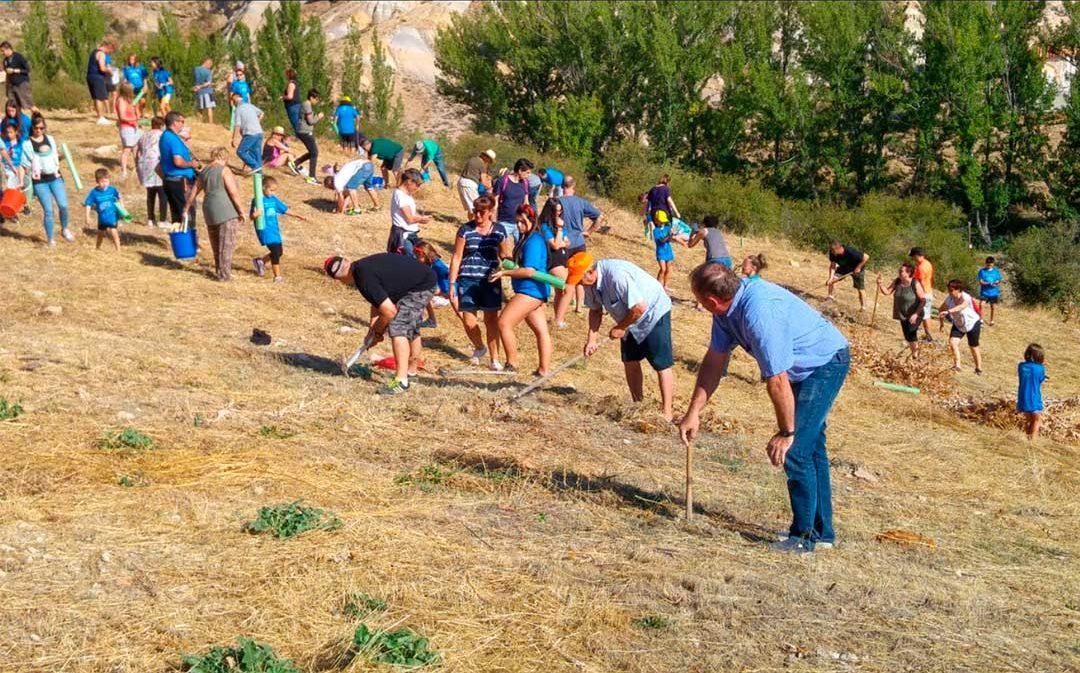 80 niños reforestan el antiguo vertedero de Cañizar del Olivar