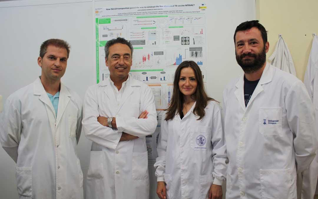 Foto de Archivo. De izquierda a derecha: Jesús Gonzalo, Carlos Martín, Dessislava Marinova y Nacho Aguiló. // Universidad de Zaragoza