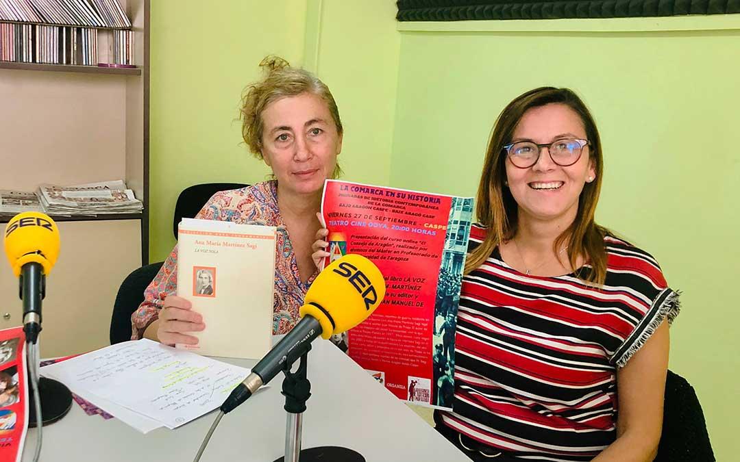 La consejera comarcal de Cultura, Ana Jarque, y la técnico de Cultura, Piluca Cercadillo