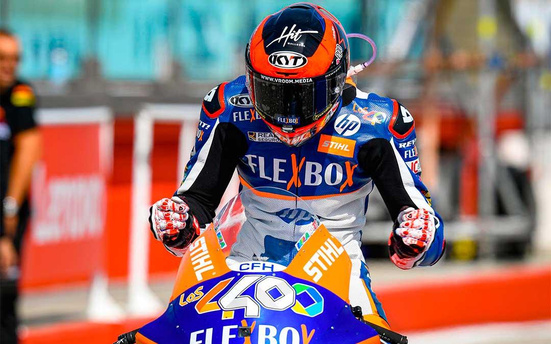 El piloto español Augusto Fernández llega a la cita alcañizano tras haber logrado subir al primer puesto en las dos últimas carreras celebradas en Gran Bretaña y en Italia./ Moto GP.