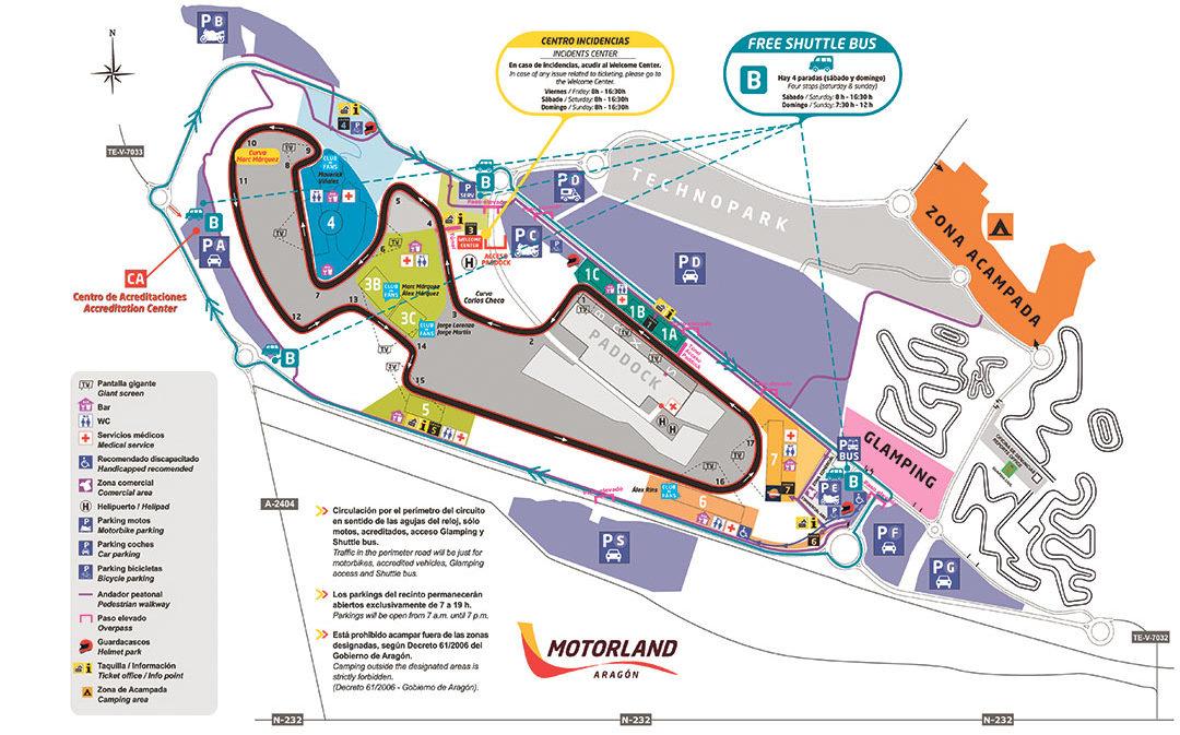 Plano de Motorland para del Gran Premio de Aragón